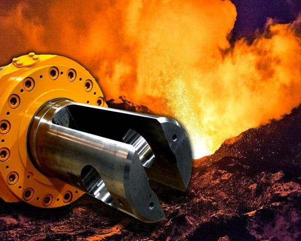 Yellow Hydraulic Cylinder and volcano
